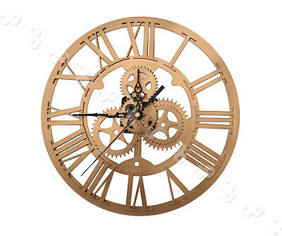 Gold DIY Art 3D Skeleton Clock Numeral Steampunk Wall Sticker Living Room Decor