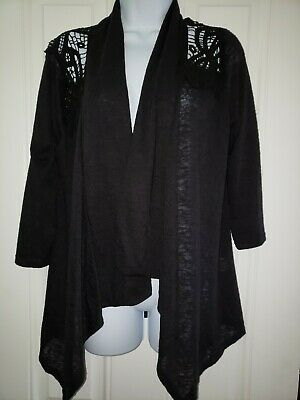 MOA Collection Women's Flyaway Cardigan with Open Front black w/ lace detail MED