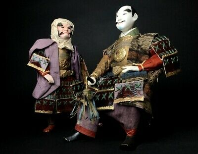 2 Dolls Antique NINGYO Japanese Monk BENKEI & SAMURAI Warrior