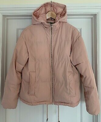 Asos Ladies Soft Pink Warm Quilted Padded Jacket Coat Zip Hood Lined Size 8 VGC