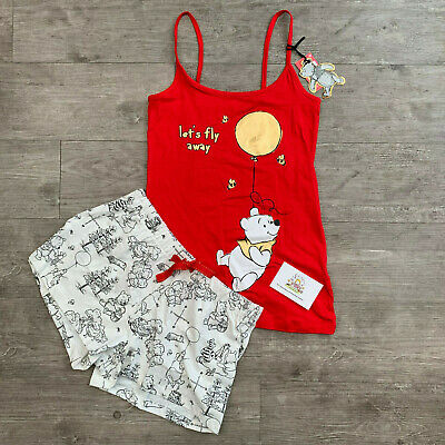 Ladies Disney Winnie The Pooh Pyjama Set Pjs Primark Womens Shorts Vest Red Girl