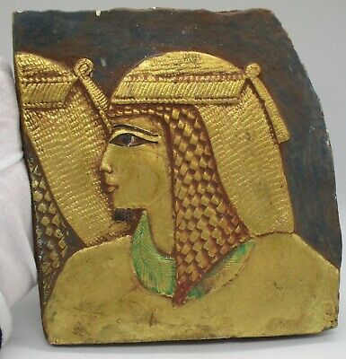 Ancient Egyptian Stone Carved Panel With Gold Gilt Depiction Of Pharoah Superb