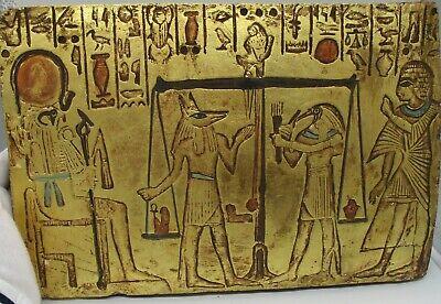 Ancient Egyptian Heavy Stone Carved Panel Gold Gilt And Heiroglyphs