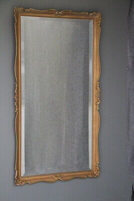 Tall French Louis XV mirror carved frame antique ornate scroll corners gold gilt
