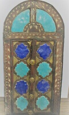 Very Unusual Old Islamic Wooden Door With Enamel And Gold Gilt, Huge