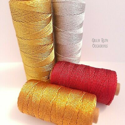 12 Ply 1mm Metallic Craft Rope String Twine Habicraft Red Silver Gold Copper