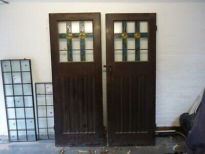 Antique Pair Of Large Solid Oak Arts Crafts Manor Front Doors With Deco Glass