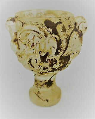 Scarce Ancient Near Eastern Rock Crystal Carved Chalice Cup With Beast Motifs