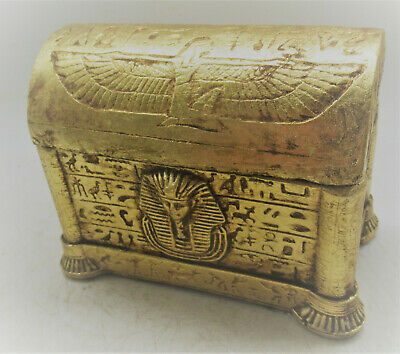 Beautiful Old Antique Egyptian Gold Gilded Stone Safebox With Heiroglyphics