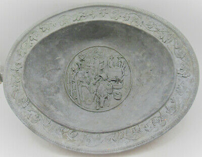 Interesting Post Medieval Metal Plate Depicting Scene Circa 17-18Th Century
