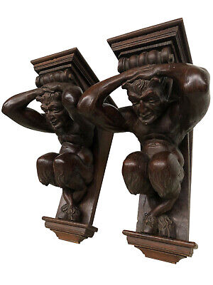 Mythological Pair of Carved Satyr Wall Brackets, French, 19th Century