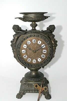 Antique Art Nouveau Cherub Clock Ornate French Brass Dual Spring Drive Works