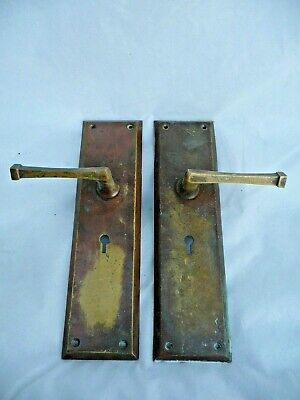 Antique Pair Art Deco Brass Lever Door Handles Yale Unsprung With Key Hole 1930s