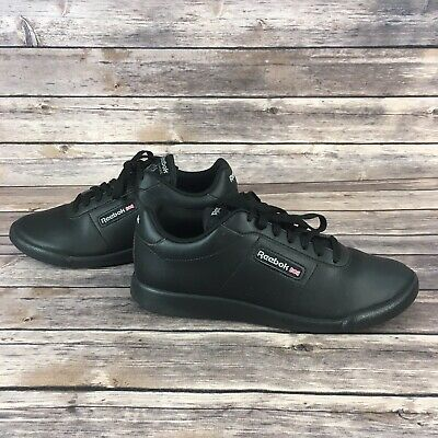 Reebok Classic Princess Womens Shoes Size 8.5 Sneakers Black Lace Up Lightweight