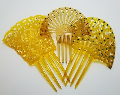 Lot Three Art Deco Celluloid Rhinestone Hair Combs, Amber, Rhinestones Red Green