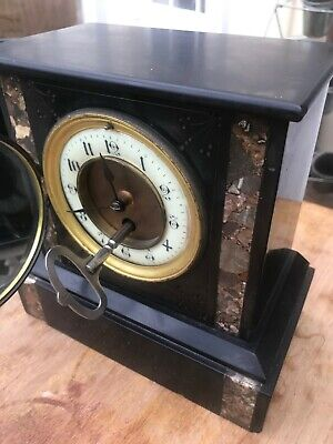 Antique French black slate & Marble Mantle Carriage Clock