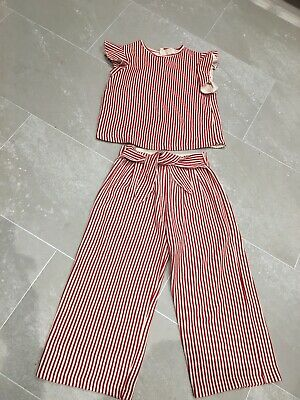 Romany Spanish Girls Zara Outfit Red White Stripe Frill Top Trousers Size 9-10