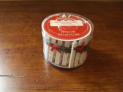 New Holiday Time Christmas Village Accessories ~ White Picket Fence w/Garland