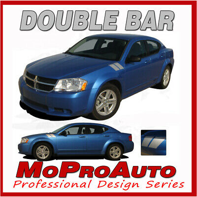 FOR 2008-2014 Dodge Avenger Double Hash Hood Fender Decals Stripes Graphics