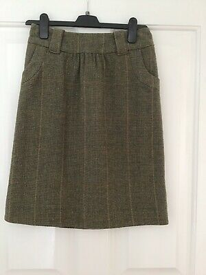 BNWOT Joules Toad Green 100% Wool Skirt Size 8