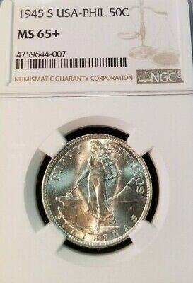 1944 S Philippines Silver 50 Cents Usa Administration Ngc Ms 65+ Gem Bu Beauty