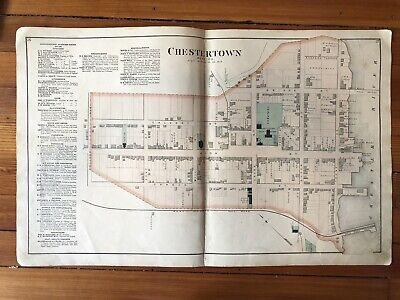 1877 KENT COUNTY Maryland Hand Color STREET MAP of CHESTERTOWN w Property Owners