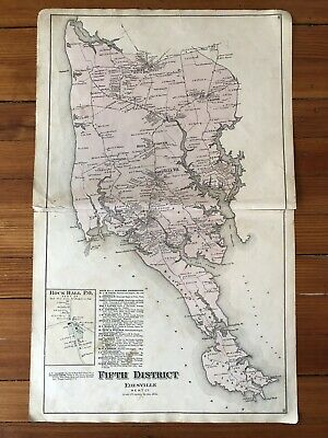 rare 1877 Maryland Hand Color Street MAP KENT COUNTY ROCK HALL Fairlee EDESVILLE