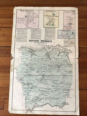rare 1877 KENT COUNTY Maryland Hand Color STREET MAP Kennedyville CHESTERVILLE