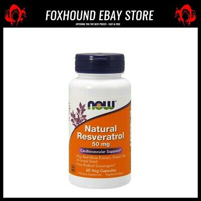 NOW Foods Natural Resveratrol with Red Wine Extract Green Tea & Grape Seed 50m