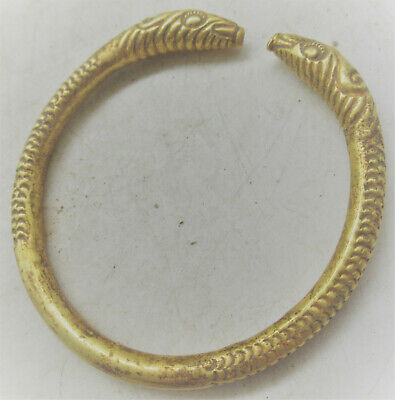 Rare Ancient Viking High Carat Gold Twisted Bracelet With Serpent Head Terminals