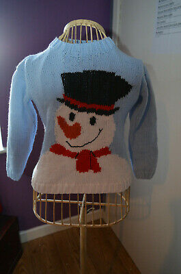 Girls Age 5-6 Years Knitted Jumper Snowman Christmas Warm Winter Clothing