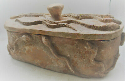 Rare Ancient Western Asiatic Terracotta Safebox With Protective Serpents