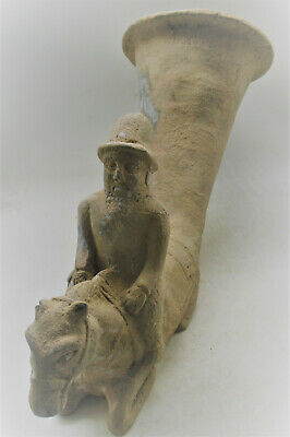 Ancient Persian Terracotta Rhyton With Horse Head And Rider Circa 500Bce