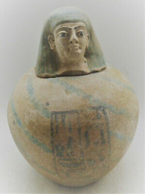 Ancient Egyptian Ceramic Canopic Jar With Pharoanic Head On Top & Heiroglyphics