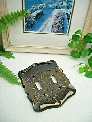 VTG Amerock Hardware Antique Brass CARRIAGE HOUSE Double Switch Wall Plate Cover