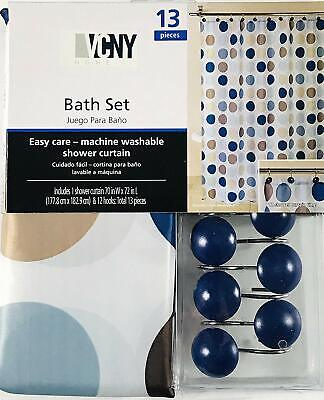 VCNY Home Blue Brown Circles Bath Set: 1 Shower Curtain and 12 Decorative Hooks