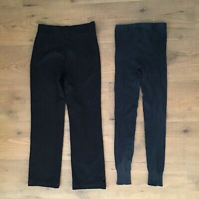 Girls School PE Trousers And Thermal Leggings Size Age 8-9 Years Black Winter