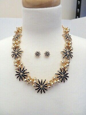 """New Talbots Navy Blue/Gold Bead Flower  Necklace/Earring Set  18-21"""""""