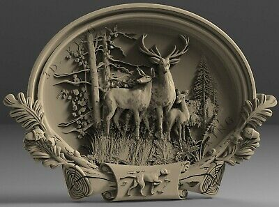 3D STL Models # DEER FAMILY 2# for CNC 3D Printer Engraver Carving Aspire Artcam