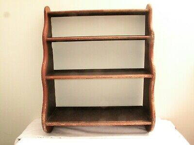 Antique Aafa Pine Hanging Wall Shelf In Red & Black Paint 19Th C Square Nails