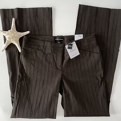 Express The Editor Flare Dress Pants Women's Sz 8 Brown Stretch Low Rise NWT