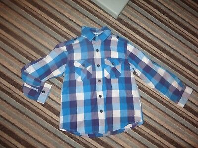boys boy shirt top blue & purple checked age 7-8 years long sleeved