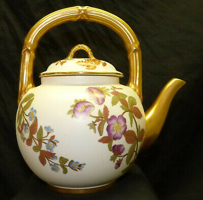 Antique 1800s Royal Worcester Teapot Floral Blush Ivory w/ Gold Hand Painted
