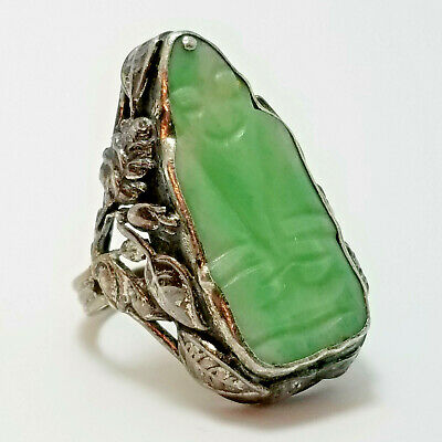 Vintage Chinese Silver & Carved Jade, Jadeite Happy Buddha Ring, Size 6, Floral