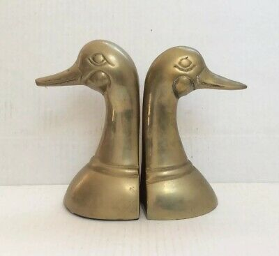 "Lot (2) Vintage Solid Brass Duck Head Bookends Figurine Paperweight Korea 6"" H"