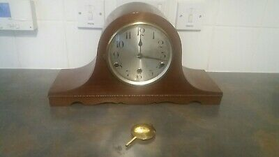 Old Wooden cased Chiming Mantle Clock - no key-spares or repair-not working