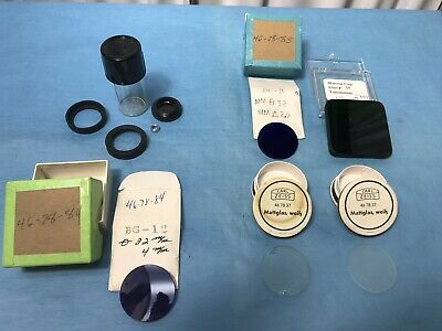 Various Lot of 5 MICROSCOPE FILTER ZEISS GERMANY etc., DIFFUSER LENS OPTICS