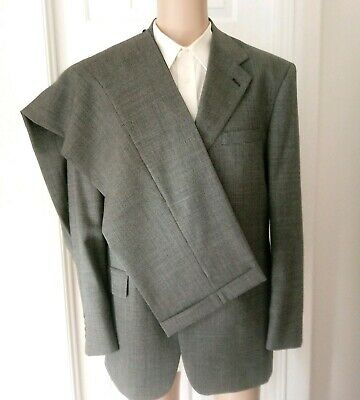 EVAN PICONE Tailored for FOLEY'S Men's Suit 100% Pure Wool Gray Shepherd's Check