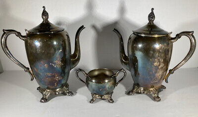 1883 SILVER TEAPOT & COFFEE POT with sugar bowl...FB ROGERS SILVER CO