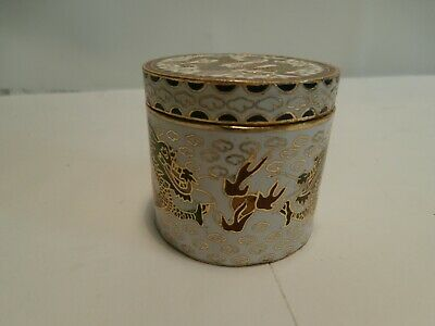 Old Antique Chinese Cloisonne Round Box with Dragons / Enamel